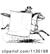 Clipart Of A Retro Vintage Black And White Man With A Sign On A Horse Royalty Free Vector Illustration
