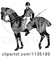 Clipart Of A Retro Vintage Black And White Jockey On A Horse Royalty Free Vector Illustration