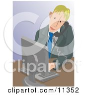 Business Man Taking A Phone Call And Using A Computer Clipart Illustration