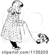 Clipart Of A Retro Vintage Black And White Girl And Cat Playing With Yarn Royalty Free Vector Illustration by Prawny Vintage