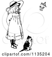 Clipart Of A Retro Vintage Black And White Girl And Cat Watching Butterflies Royalty Free Vector Illustration by Prawny Vintage