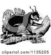 Clipart Of A Retro Vintage Black And White Caracal On A Log Royalty Free Vector Illustration by Prawny Vintage