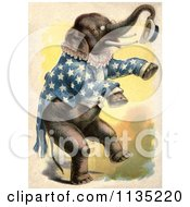 Clipart Of A Vintage Circus Elephant Standing Up And Holding A Hat Royalty Free Illustration by Prawny Vintage