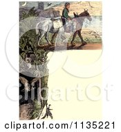 Clipart Of A Vintage Frame Of Owls A Man And Horses Royalty Free Illustration