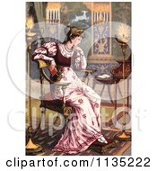 Clipart Of A Thoughtful Princess Sitting Royalty Free Illustration by Prawny Vintage