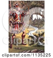Clipart Of A Warrior Hunting A White Fawn Royalty Free Illustration by Prawny Vintage