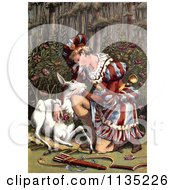 Clipart Of A Hunter Warrior Holding A White Fawn After The Kill Royalty Free Illustration by Prawny Vintage