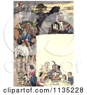 Clipart Of A Vintage Frame Of Dining People And Horses Royalty Free Illustration by Prawny Vintage