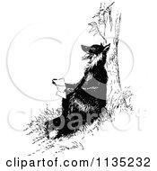 Clipart Of A Retro Vintage Black And White Fox Reading Against A Tree Royalty Free Vector Illustration by Prawny Vintage