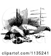 Clipart Of A Retro Vintage Black And White Injured Man Royalty Free Vector Illustration