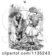 Clipart Of A Retro Vintage Black And White Mother Embracing Her Kids Royalty Free Vector Illustration