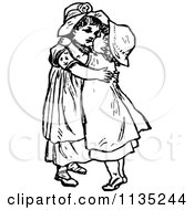 Clipart Of Retro Vintage Black And White Sisters Hugging Royalty Free Vector Illustration