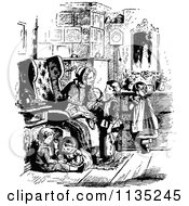 Clipart Of Retro Vintage Black And White Children With Granny Royalty Free Vector Illustration