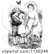 Clipart Of A Retro Vintage Black And White Mother And Embracing Kids Royalty Free Vector Illustration
