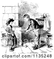 Clipart Of A Retro Vintage Black And White Boy Sharing Food With His Sister Royalty Free Vector Illustration