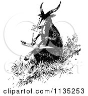 Clipart Of A Retro Vintage Black And White Goat Writing A Letter Royalty Free Vector Illustration by Prawny Vintage