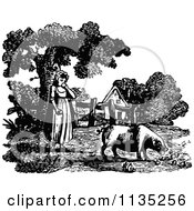 Clipart Of A Retro Vintage Black And White Girl Feeding A Pig Royalty Free Vector Illustration by Prawny Vintage