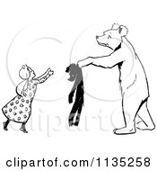 Clipart Of A Retro Vintage Black And White Bear Handing A Girl A Teddy Royalty Free Vector Illustration by Prawny Vintage