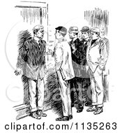 Clipart Of A Retro Vintage Black And White Group Of Men Royalty Free Vector Illustration