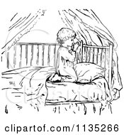 Clipart Of A Retro Vintage Black And White Boy Praying In Bed Royalty Free Vector Illustration