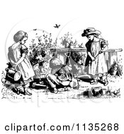 Clipart Of Retro Vintage Black And White Children Gardening Royalty Free Vector Illustration by Prawny Vintage