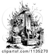 Clipart Of Retro Vintage Black And White Girls At A Water Pump Royalty Free Vector Illustration