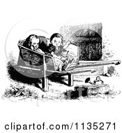 Clipart Of A Retro Vintage Black And White Girls And Cat In A Wheel Barrow Royalty Free Vector Illustration