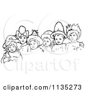 Clipart Of Retro Vintage Black And White Children Wearing Hats Royalty Free Vector Illustration by Prawny Vintage
