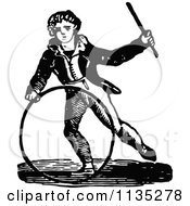 Retro Vintage Black And White Boy With A Hoop And Wand