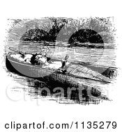 Clipart Of A Retro Vintage Black And White Boy Smoking A Pipe In A Boat Royalty Free Vector Illustration by Prawny Vintage