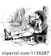 Clipart Of A Retro Vintage Black And White Boy Smoking A Pipe Royalty Free Vector Illustration