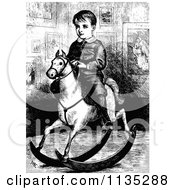 Clipart Of A Retro Vintage Black And White Boy On A Rocking Horse Royalty Free Vector Illustration