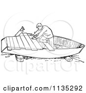 Clipart Of A Retro Vintage Black And White Man Building A Boat Royalty Free Vector Illustration by Prawny Vintage