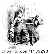 Clipart Of A Retro Vintage Black And White Boy Catching A Chicken Royalty Free Vector Illustration