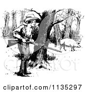 Clipart Of A Retro Vintage Black And White Boy Hunting Pig Royalty Free Vector Illustration