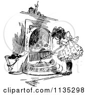 Clipart Of A Retro Vintage Black And White Girl Tending To A Fire Royalty Free Vector Illustration by Prawny Vintage