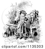 Clipart Of A Retro Vintage Black And White Girl In A Garden Royalty Free Vector Illustration by Prawny Vintage