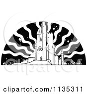 Clipart Of A Retro Vintage Black And White Fairy Tale Castle And Sun Royalty Free Vector Illustration by Prawny Vintage