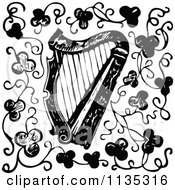 Clipart Of A Retro Vintage Black And White Harp And Clovers Royalty Free Vector Illustration