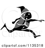 Clipart Of A Retro Vintage Black And White Elf Running And Pointing Royalty Free Vector Illustration
