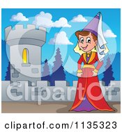 Cartoon Of A Medieval Queen On A Fortress Royalty Free Vector Clipart by visekart