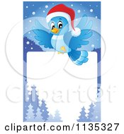 Cartoon Of A Christmas Bluebird Border Royalty Free Vector Clipart
