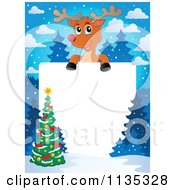 Cartoon Of A Christmas Tree And Reindeer Border Royalty Free Vector Clipart