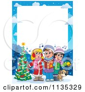 Cartoon Of A Children Singing Christmas Carols Frame Royalty Free Vector Clipart