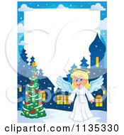 Cartoon Of A Christmas Angel Border 1 Royalty Free Vector Clipart