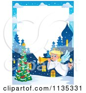 Cartoon Of A Christmas Angel Border 2 Royalty Free Vector Clipart by visekart
