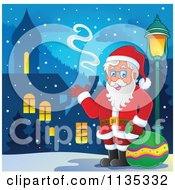 Cartoon Of Santa By A Street Light In A Village Royalty Free Vector Clipart