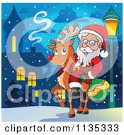 Cartoon Of Santa On A Reindeer By A Street Light In A Village Royalty Free Vector Clipart