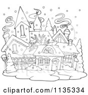 Cartoon Of An Outlined Winter Village With Snow Royalty Free Vector Clipart