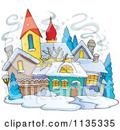 Cartoon Of A Winter Village With Snow Royalty Free Vector Clipart by visekart